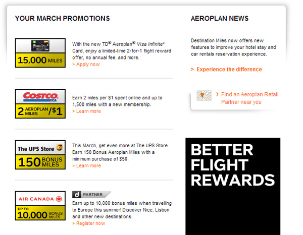aeroplan-options-galore