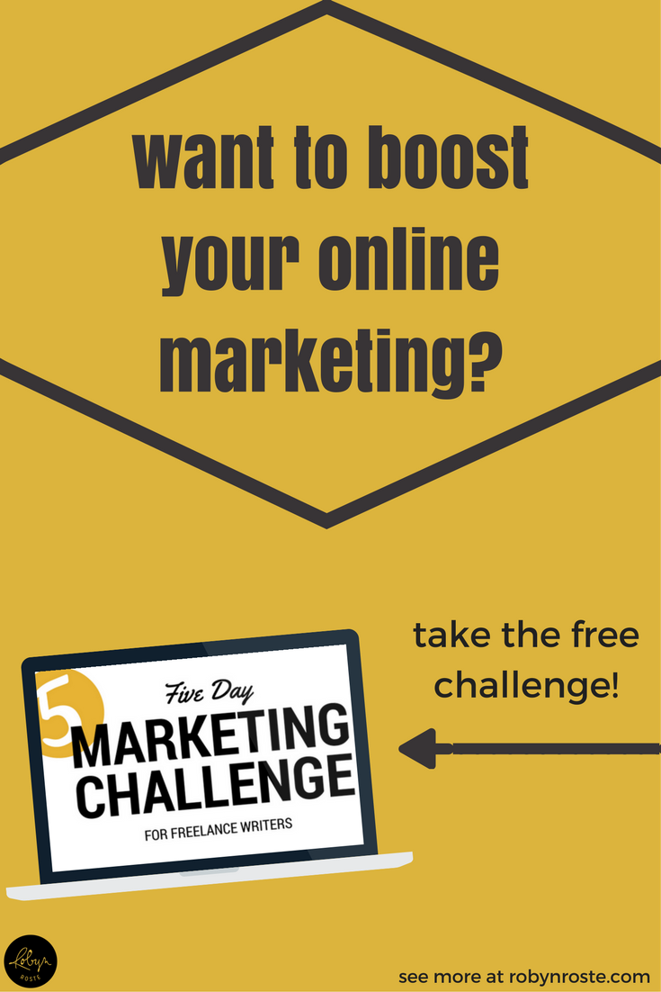 What if I could show you how you could incorporate marketing into your day...just a bit...a manageable amount...and then teach you how to streamline and automate it so you could reach your freelance writing goals without adding more to your to-do list? Well I can, and it all starts with my free five-day marketing challenge for freelance writers. Are you up for the challenge?