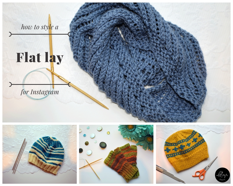 What is a flat lay? The simple answer is a photo taken from above. It used to be called knolling or bird's-eye view (borrowing from magazines and movies). Now it's used on Instagram and blgos to showcase products in an organized, clean, and engaging way. Showing knitting as a flat lay is a popular way to make your products stand out from the rest.